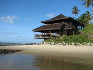 Beach house on sandy soil